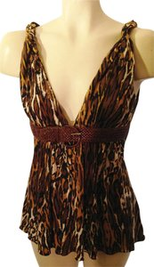 Sky Animal Print Leather Silk Top browns/multi
