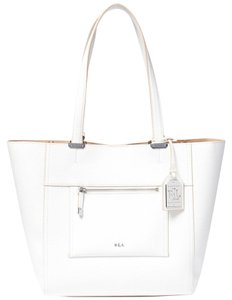 Ralph Lauren Front Zip Pocket Tote in white