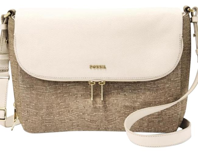 Item - Preston Flap Large Tan/Gold Cloth and Leather Cross Body Bag