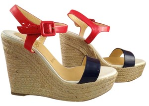 Christian Louboutin Spachica Red, White, & Blue Wedges