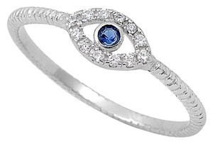 9.2.5 very cute white and blue topaz evil eye ring size 9