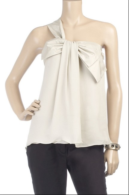 Mint One Shoulder Bow Silk Top off-white
