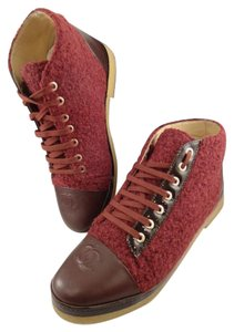 Chanel Tweed burgundy Boots