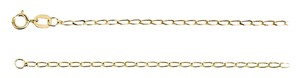 LoveBrightJewelry 1.25mm 14K Yellow Gold Solid Curb Chain 16 Inch Necklace