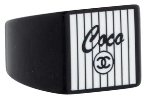 Chanel Black, white resin Chanel interlocking CC logo Coco Ring 6.5