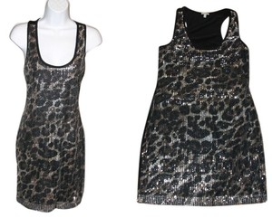 Charlotte Russe Leopard Cheetah Sequin Sheath Bodycon Clubwear Dress