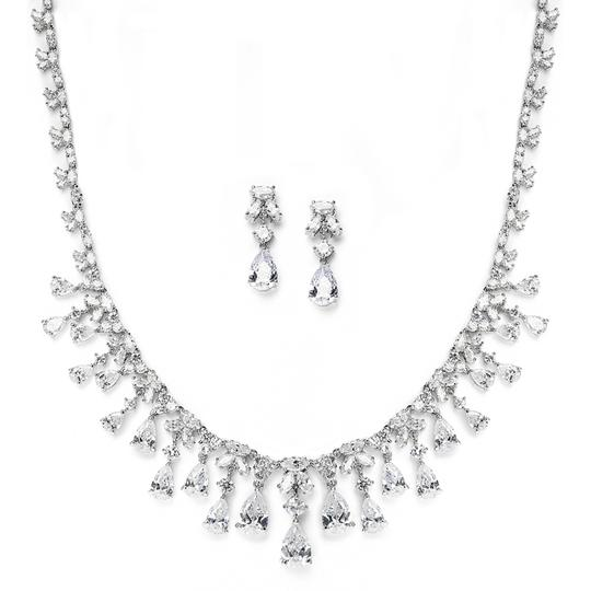 Silver/Rhodium Hollywood Glamour Crystal Necklace Earrings Set Jewelry Sets