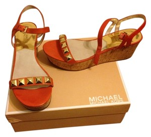 Michael Kors Studded Kors Gold Orange Platforms