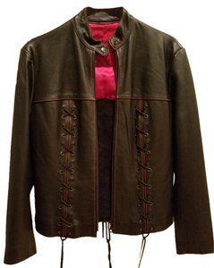 J&L Leather Cross Satin Motocycle Chic Motorcycle Jacket