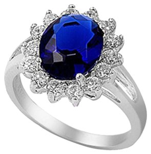 9.2.5 Gorgeous blue and white sapphire royal princess cocktail ring size 9