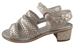 Chanel Quilted silver Sandals