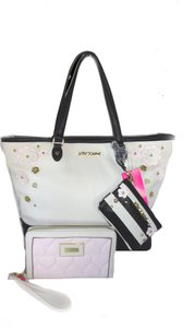 Betsey Johnson Stripe Oversized Wallet Satchel in black, bone