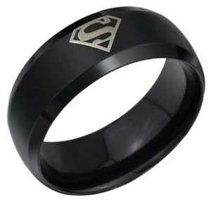 DC Comics NEW Superman Black Stainless Steel Ring Size 12