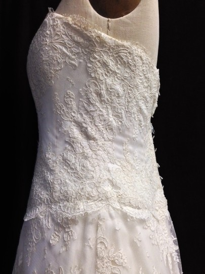 Monique Lhuillier Ivory Lace Organza All Gabrielle Silk Aline Strapless Corset Style Top Sz6/8 Traditional Dress Size 6 (S)
