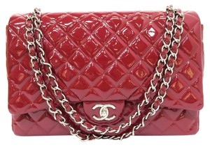 Chanel Maxi Double Flap Cf Vernis Satchel in red