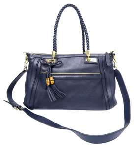 Gucci Bamboo Tote Satchel in navy blue