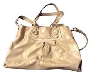 Coach Patent Leather Ashley Satchel in Nude