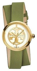 Tory Burch REVA DOUBLE-WRAP WATCH, GREEN LEATHER/GOLD-TONE, 28 MM