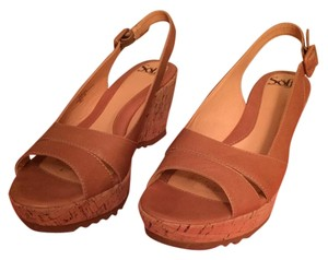 Erosoft by Sfft Cork Wedge Tan Leather Sandals