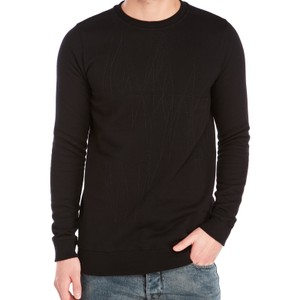 Rick Owens DRKSHDW Black Embroidered Sweatshirt Crew Pullover Sweater