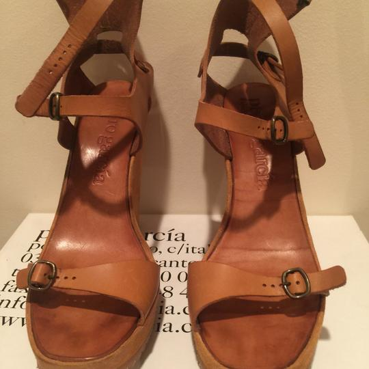 Pedro Garcia Sandal Leather Summer Strappy Tan Wedges