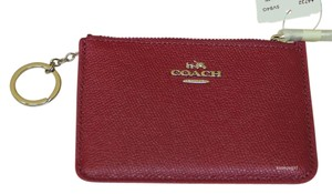 Coach Coach Key Pouch Card Case Coin Purse Crossgrain Leather in Cyclamen