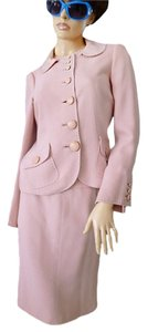 Moschino PINK TOP STITCH-LEATHER BUTTONS-TAILORED SKIRT SUIT-2-4-6 ?