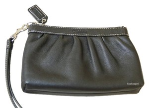 Coach Leather Pleated Wristlet in Black