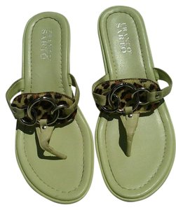 Franco Sarto Leather Animal Print Green Sandals