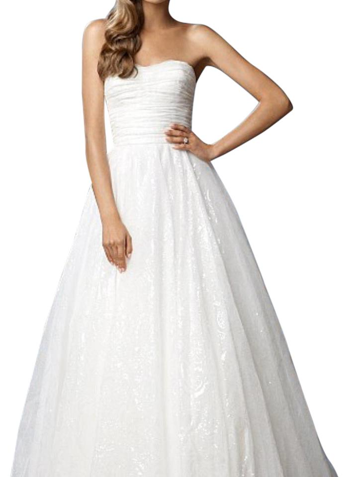 Watters white lace traditional wedding dress size 8 m for Best way to sell used wedding dress