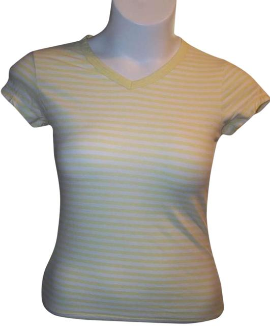 Banana Republic Short Sleeve Small Yellow Striped Top Multi Color