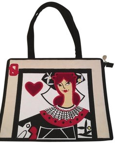 Lulu Guinness Queen Hearts Tear Tote in Red