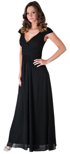 Preload https://item4.tradesy.com/images/black-elegant-pleated-waist-mini-sleeves-long-formal-dress-size-22-plus-2x-1703963-0-0.jpg?width=400&height=650