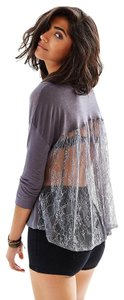 Kimchi Blue Open Back Vintage Lace Sheer Crop Top Grey