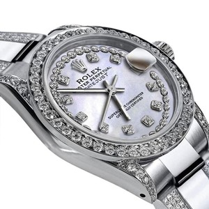 Rolex Women's 26mm Rolex s/s Oyster Perpetual Datejust Custom Diamond Dial