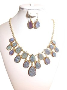 None Druzy Necklace And Earring Set