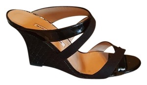 Manolo Blahnik Designer Wedge Patent Leather Black Wedges