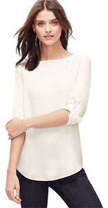 Ann Taylor Leather Top Winter White