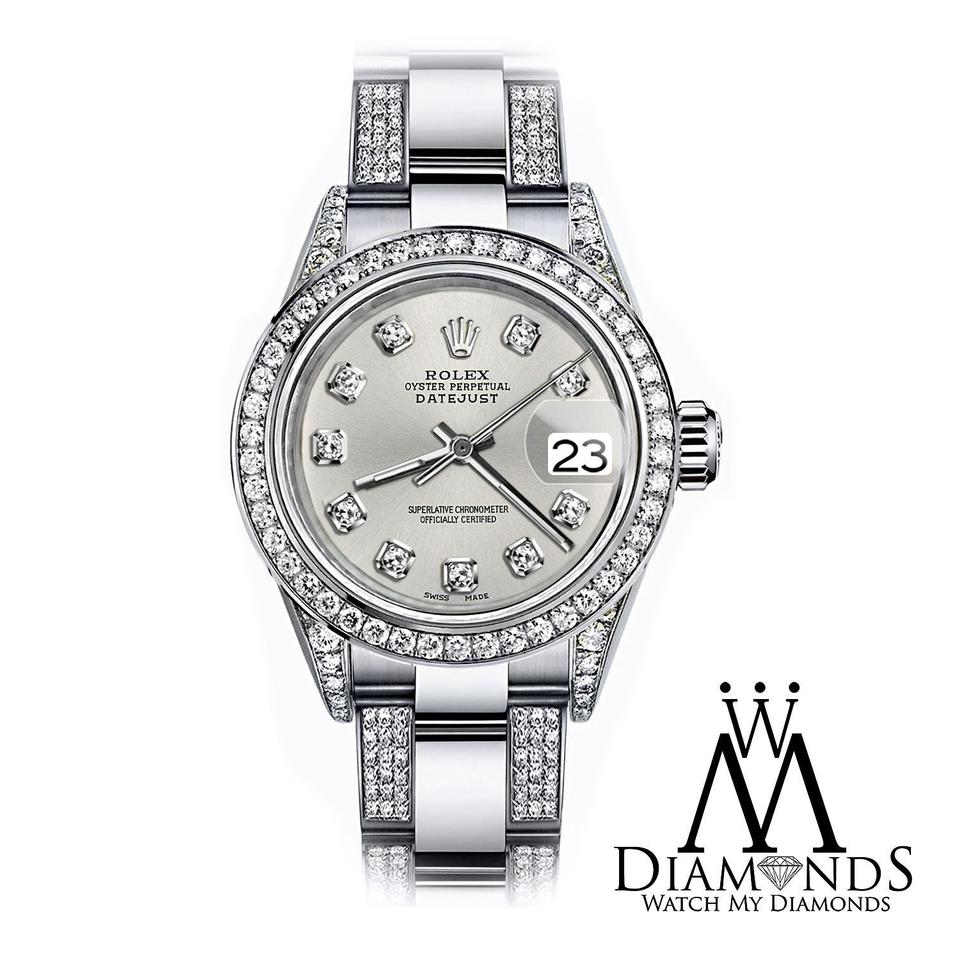Rolex Women S 31mm S S Oyster Perpetual Datejust Set Diamonds Silver Watch 55 Off Retail