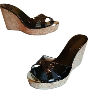 Jimmy Choo Pandora Cork Heel Open Toe Black Wedges