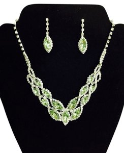None Rhinestone Necklace / Earring Set (LIME)