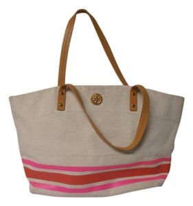Tory Burch Designer Canvas Stripes Large Tote in beige, Pink and red