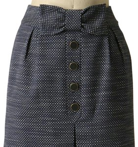Anthropologie Tweed Bow Buttons Skirt Blue, White