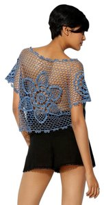 Pins and Needles Crochet Open Back Cropped T Shirt Blue