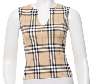 Burberry Nova Check Plaid Sleeveless Monogram T Shirt Beige, Gold, Black