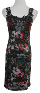 Free People short dress Black Anthropologie Floral Stretchy on Tradesy