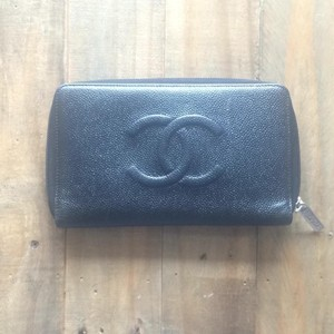 Chanel Black Caviar Leather Classic CC Zip Around Wallet