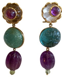 TONY DUQUETTE TONY DUQUETTE AMETHYST & JADE TALISMAN OF POWER EARRINGS WITH REMOVABLE DROPS, 18K, PURCHASED AT NEIMAN MARCUS AND NEVER WORN