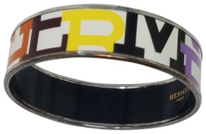 Hermes Palladium and multicolor Herms enamel bracelet with logo