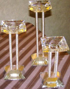 Nib-lighting By Design Pillar Candle Holder Set By Shannon Crystal